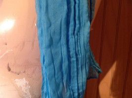 Blue Scrunched Style Fashion Scarf Light Weight silk cotton blend 66 Inches image 5