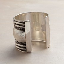 Classic Silver Tone Texture Statement Cuff w antiqued finish bands image 2
