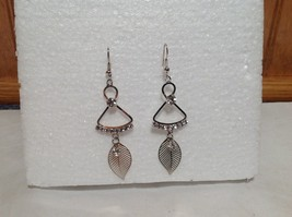 Dangling Crystal and Leaf Silver Feather Earrings  Filigree Design