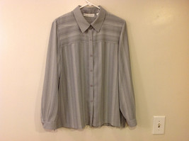 Draper & Damon Men's Size L Button-Down Shirt Gray + White Stripes Long Sleeves image 1
