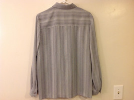Draper & Damon Men's Size L Button-Down Shirt Gray + White Stripes Long Sleeves image 2