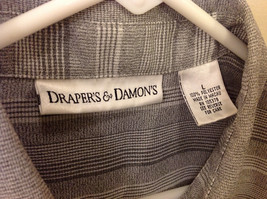Draper & Damon Men's Size L Button-Down Shirt Gray + White Stripes Long Sleeves image 3