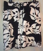 Quiksilver Board Shorts Men's 30 Black & White Hibiscus Print Good Shape - $16.40