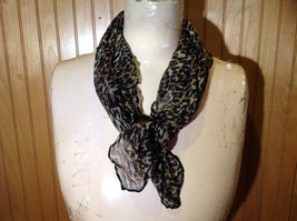 Green Tinted Leopard Print Square Fashion Scarf Light Weight Material