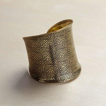 Gold Wide Cuff bracelet with textured  Antiqued finish image 1