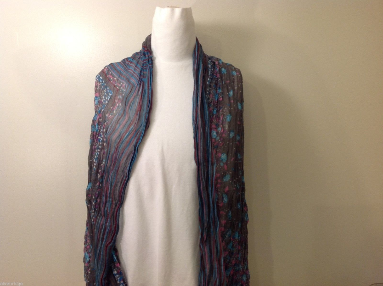 Gray Based, Multi-colored and floral blue Patterned Crinkle Scarf, New!