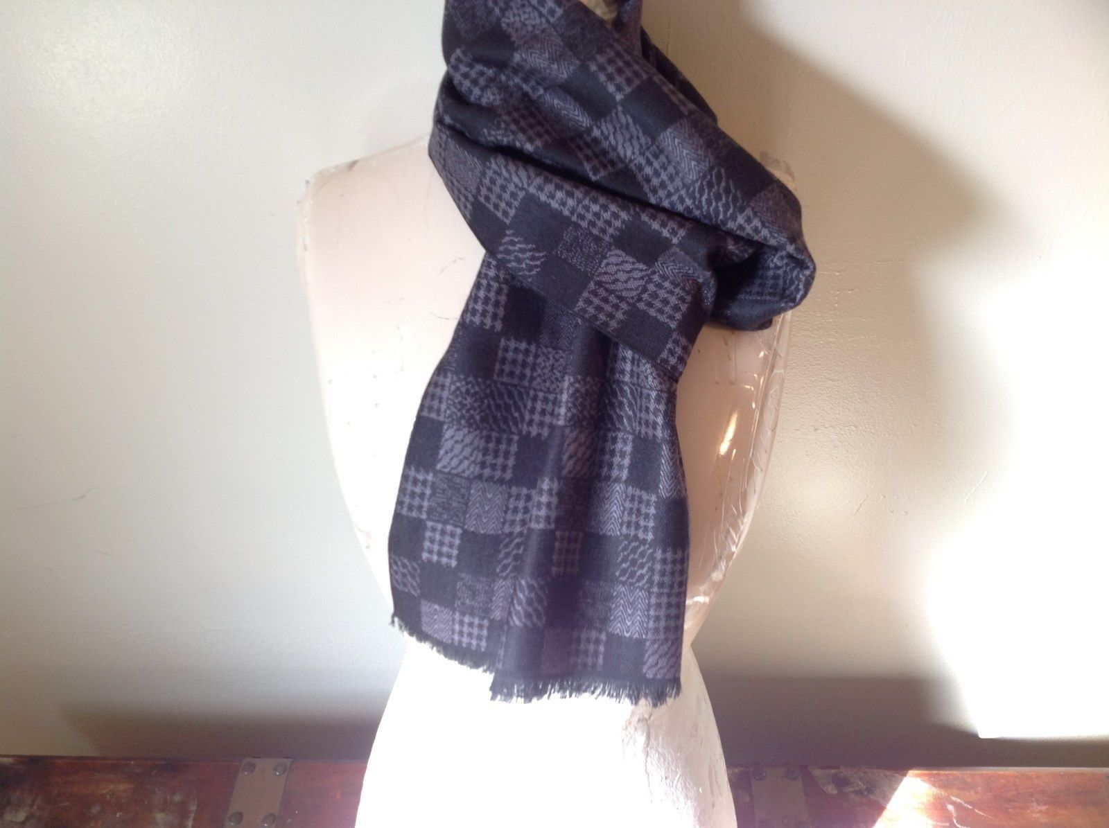 Men's Black Gray Checkered European Scarf by Mad soft 100 Percent Viscose