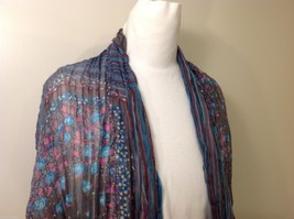 Gray Based, Multi-colored and floral blue Patterned Crinkle Scarf, New! image 2