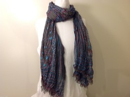 Gray Based, Multi-colored and floral blue Patterned Crinkle Scarf, New! image 3