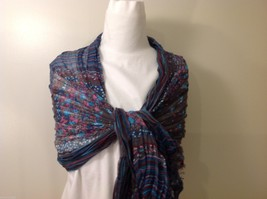 Gray Based, Multi-colored and floral blue Patterned Crinkle Scarf, New! image 5