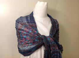 Gray Based, Multi-colored and floral blue Patterned Crinkle Scarf, New! image 6