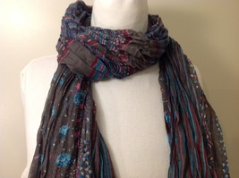 Gray Based, Multi-colored and floral blue Patterned Crinkle Scarf, New! image 4