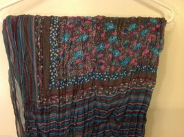 Gray Based, Multi-colored and floral blue Patterned Crinkle Scarf, New! image 8