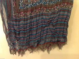 Gray Based, Multi-colored and floral blue Patterned Crinkle Scarf, New! image 9