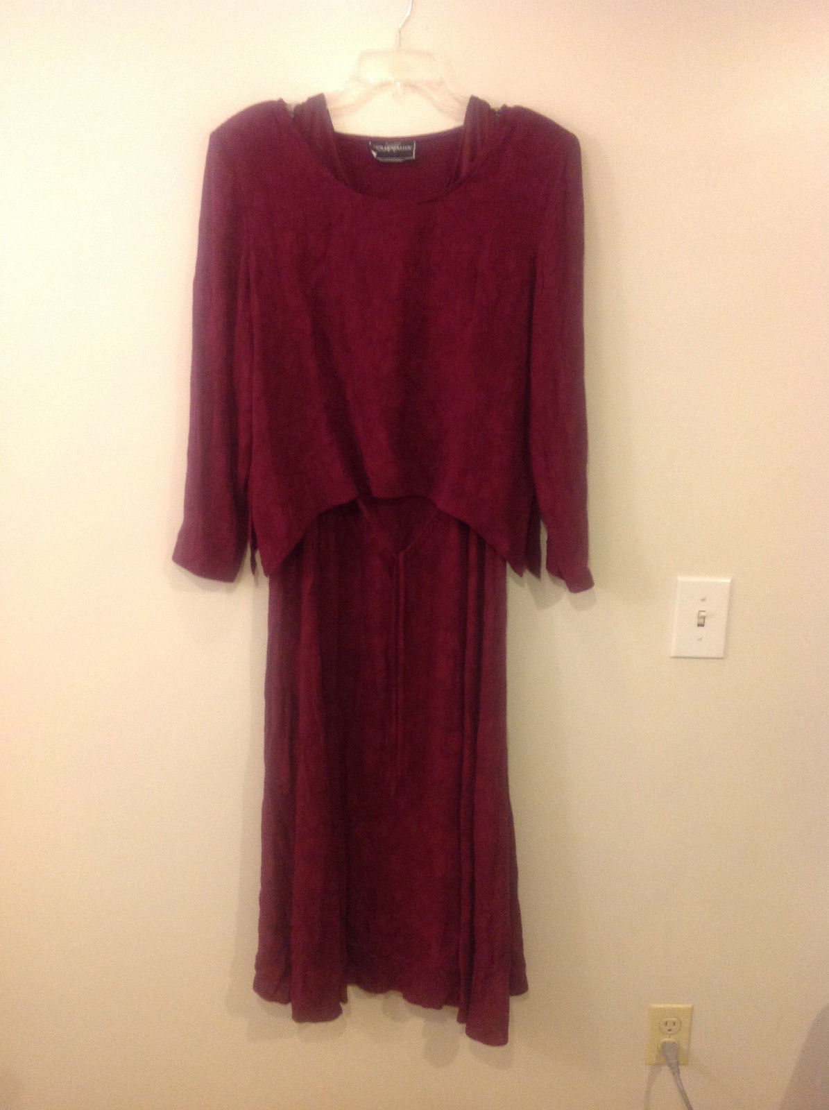 Molly Malloy Women Size 10 Dress & Top 2 Piece Set Red Purple Maxi Floral Casual