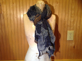 Navy Blue Tan Patchy Scrunched Style Scarf Wavy Boho
