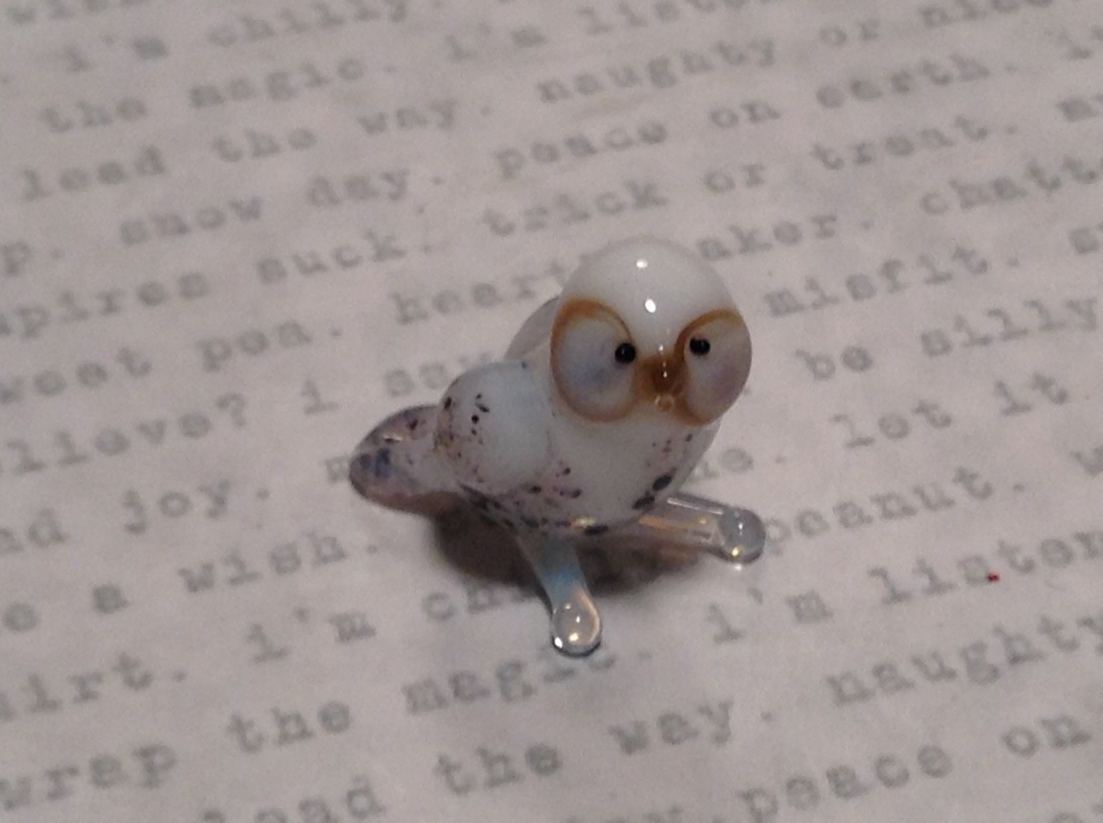 Micro miniature small hand blown glass  white spotted owl #2    USA  NIB