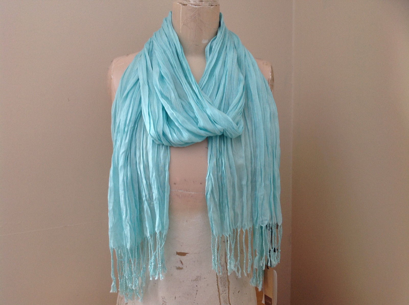 Mint Green Scrunched Style Tasseled Scarf soft silk cotton blend 65 Inches