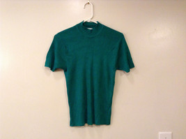 Norton McNaughton Women Size S Emerald Green Knit Top Short Sleeves Mock Neck
