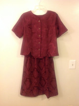 Promises Women's Petite Size M 2 Piece Top & Skirt Set Burgundy Red Jacquard