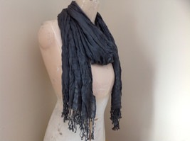 New Gray Scrunched Style Tasseled Scarf soft silk cotton blend 65 Inches image 2