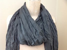 New Gray Scrunched Style Tasseled Scarf soft silk cotton blend 65 Inches image 3