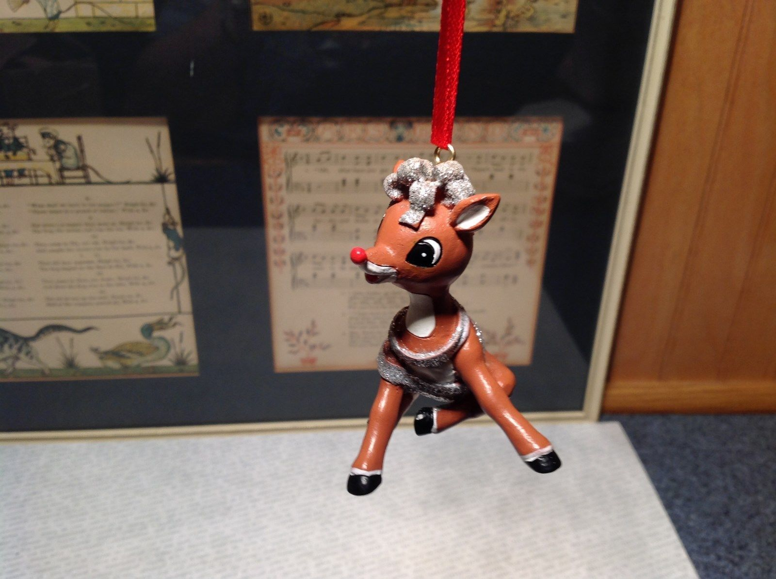 Rudolph Rudy Wrapped in Tinsel Christmas Tree Ornament Resin 50 Year Anniversary