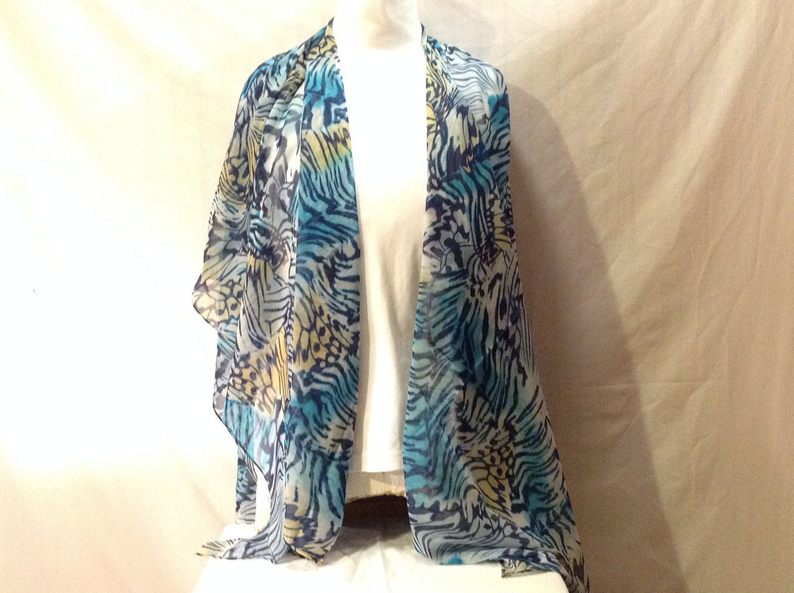 Silky Shawl Scarf Wrap Stole Butterfly Wing Abstract Print Blue Yellow White