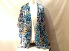 Silky Shawl Scarf Wrap Stole Butterfly Wing Zebra Print Blue Yellow White