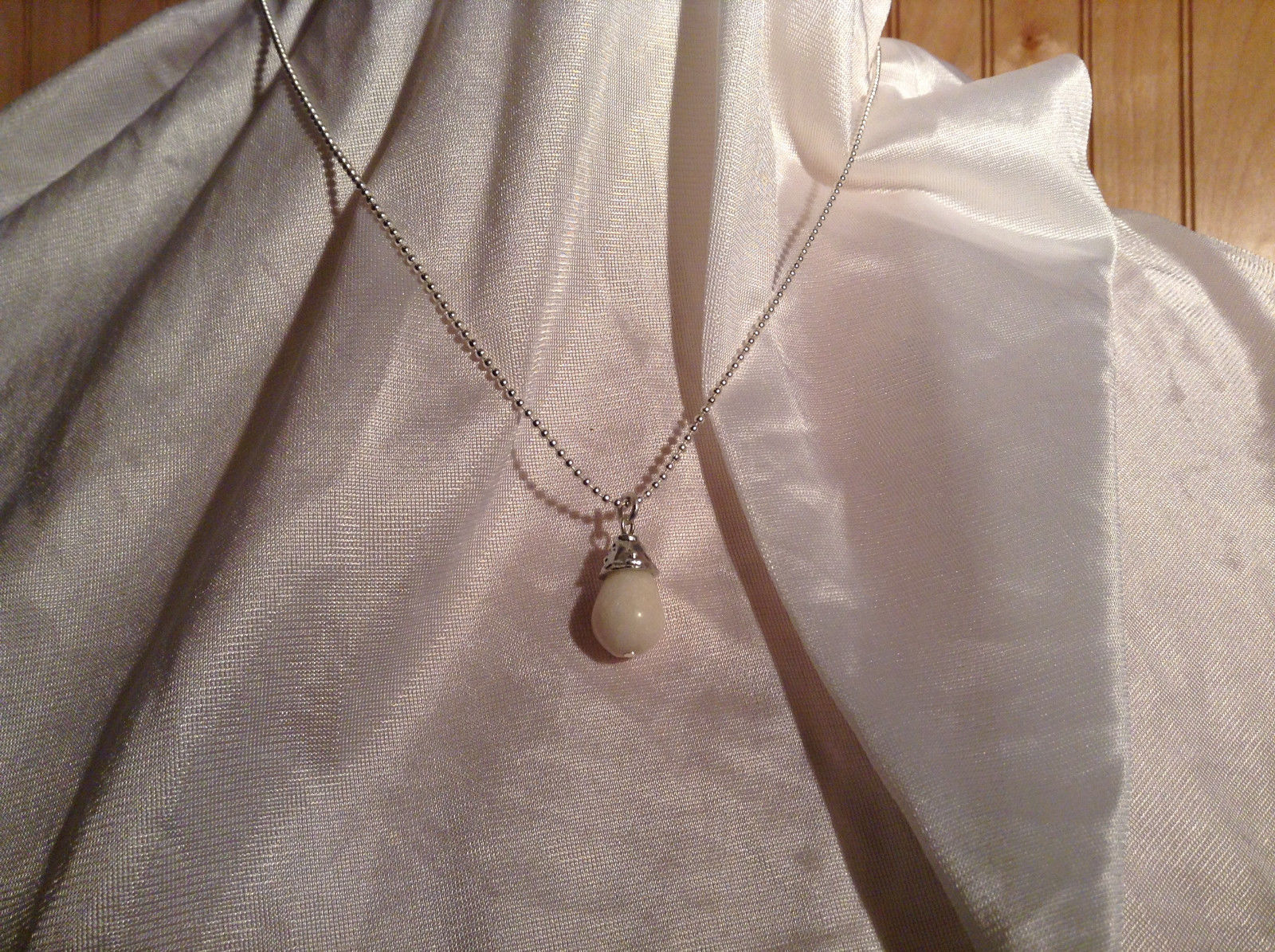 White Faux Pearl Teardrop BirthStone Ball Chain Pendant Necklace by Bella Ryann