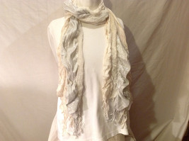 Women's Scarf Open Knit Natural White & Shimmery Metallic Silver w/ Fringe Trim