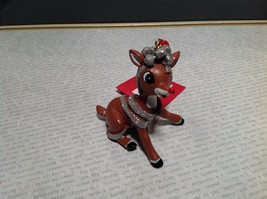 Rudolph Rudy Wrapped in Tinsel Christmas Tree Ornament Resin 50 Year Anniversary image 5