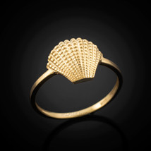 Dainty Gold Seashell Conch Ladies Ring - £57.38 GBP