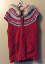 Old Navy Red Striped Knit Furry Hooded Zip Up Wool Blend Winter Vest Wom... - $22.24