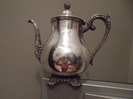 """WM ROGERS & SON """"Victorian Rose"""" #1902 Tea Pot Post-1940 SilverplateFooted - $9.99"""