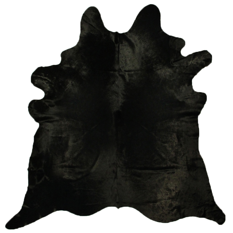 Black Hair Natural Cow Skin Solid Black Cowhide Rug By