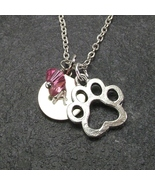 Personalized Paw Necklace Custom Initial Swarovski Birthstone Crystal Pe... - $24.99+