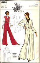 Uncut 1970s Size 10 Bust 32 1/2 Knits Jumpsuit Jacket Vogue 8428 Pattern - $12.99