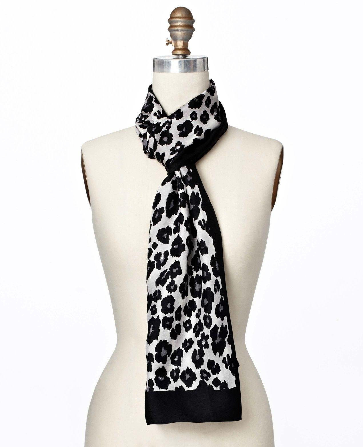Ann Taylor Black Leopard Print Oblong Silk Scarf, NWT - $68.00