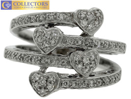 Lovely Ladies 18K 750 Solid White Gold 0.56ctw Diamond Hearts Wrap Band ... - $947.49