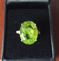 New Designer Huge 13+ carat Natural Peridot, .25 Diamond yellow 14k gold... - $2,999.99
