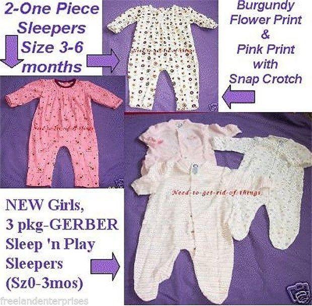 Girls Sleepers-1 Piece-Lot-Gerber+Small Step-Sz.0-6 mos - $14.80