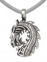 """DRAGON HEAD PEWTER 1-3/8"""" tall Pendant Necklace ~ with Black Velveteen C... - $8.07"""