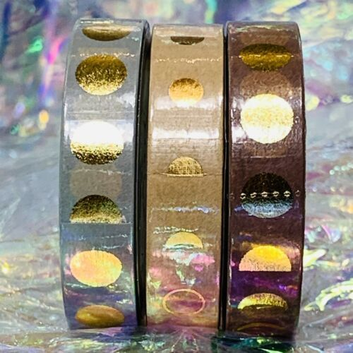 SEALED Papergeek Paper Geek Gold Foil 3x Autumn Hues WASHI TAPE Moon Phase Mauve