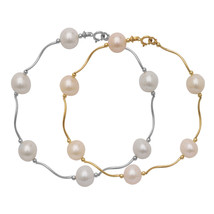7mm 14k Yellow or White Gold White Freshwater Pearl Beaded Bracelet 7.5 ... - $73.15