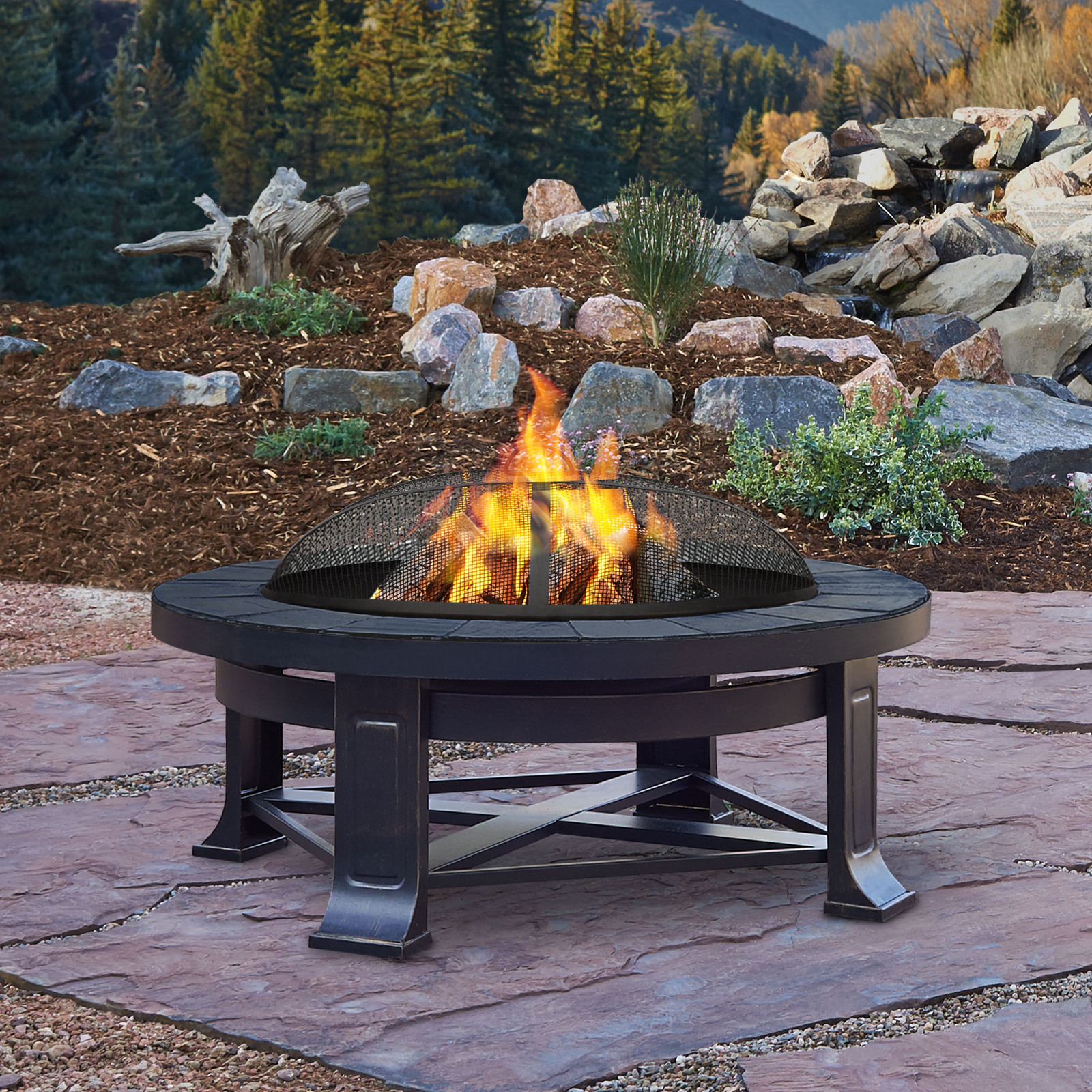 """Patio Outdoor Fire Pit: Real Flame Edwards 33.75"""" Outdoor Patio Deck Wood Burning"""
