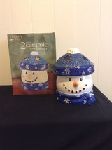 Oversized Holiday Time Snowman Blue & White Candle 2 Piece Ceramic Candl... - $14.95