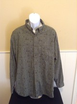 Mens Woolrich Long Sleeve Size 2XL Olive Fly Fishing Button Shirt pole b... - $23.36