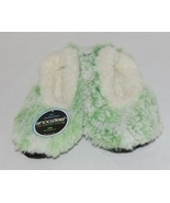 Snoozies 285123 Velvety Fur Foot Coverings Green White Kids XLarge - $12.99