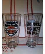 "1998 MILLER ""95TH HARLEY-DAVIDSON"" IMPERIAL PINT BEER TUMBLERS/GLASSES –SET OF 2 - $12.32"
